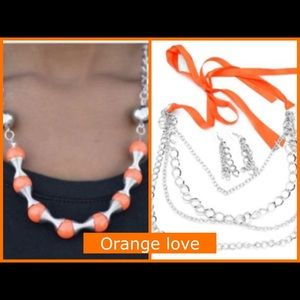Bundle of 2 orange necklaces both come w/ earrings
